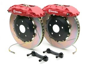ES#2850113 - 1H2.8004A2 - Brembo GT Front Big Brake Kit - 2 Piece Slotted Rotors (355x32) - Featuring Red 4 piston calipers, stainless brake lines and Brembo Sport brake pads - Brembo - Audi