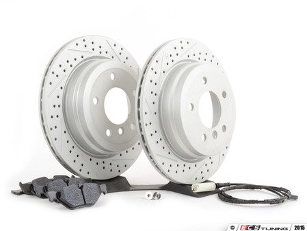 ES#2770197 - 34116855006KT8 - Performance Rear Brake Service Kit - Featuring ECS GEOMET cross drilled and slotted rotors and Hawk HPS pads - Assembled By ECS - BMW