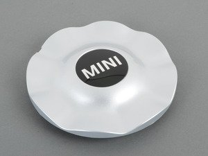 ES#65836 - 36136771002 - Hub Cap With MINI Logo Silver For R104 Wheel - Priced Each - Needed with new wheels or for lost caps - Genuine MINI - MINI