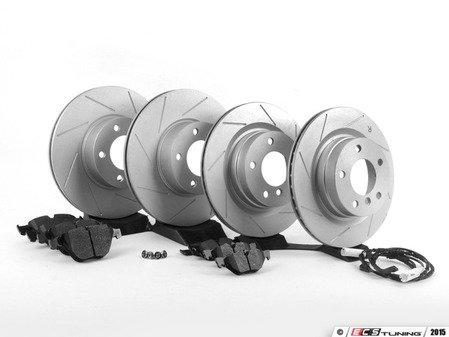 ES#2606372 - 34356789440FFSKT - Performance Front & Rear Brake Service Kit - Featuring ECS GEOMET slotted rotors and Hawk HPS pads - Assembled By ECS - BMW