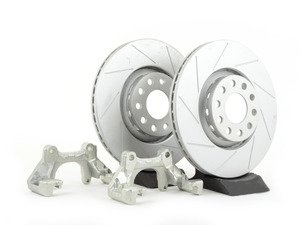 ES#90 - B5A8BBKNPASLT - Front Big Brake Kit - stage 1 - ECS GEOMET Slotted Rotors (312x25) - Upgrade your stopping power with larger diameter rotors - Assembled By ECS - Audi Volkswagen