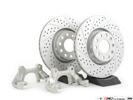 ES#91 - B5A8BBKNPAX/S - Front Big Brake Kit - stage 1 - ECS GEOMET Cross Drilled & Slotted Rotors (312x25) - Upgrade your stopping power with larger diameter rotors - Assembled By ECS - Audi Volkswagen