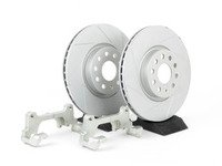 ES#241012 - 1K0698002 - Front Big Brake Kit - Slotted Rotors (312x25) - Upgrade from 288mm to 312mm rotors from the Jetta GLI. Reuses factory calipers, pads, and hardware! - ECS - Volkswagen