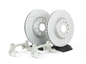 ES#241012 - 1K0698002 - Front Big Brake Kit - ECS Slotted GEOMET Rotors (312x25) - Upgrade from 288mm to 312mm rotors from the Jetta GLI. Reuses factory calipers, pads, and hardware! - ECS - Volkswagen