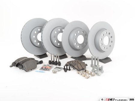 ES#2877383 - 1K0615301TSK1KT - Front & Rear Brake Service Kit (288x25/272x10) - Featuring Zimmerman rotors and Textar Brake pads - Assembled By ECS - Volkswagen