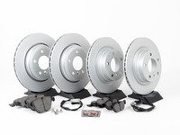 ES#2777077 - 34116854998KT9 - Front & Rear Brake Service Kit - Featuring Zimmermann rotors rotors and Akebono pads - Assembled By ECS - BMW