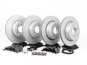 ES#2862817 - 34113400151KT - Front And Rear Brake Service Kit - Featuring Pagid coated rotors and Akebono pads - Assembled By ECS - BMW