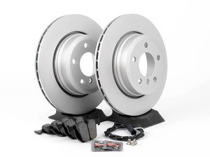 ES#2862825 - 34113400151KT2 - Rear Brake Service Kit - Featuring Meyle coated rotors and Akebono pads - Assembled By ECS - BMW