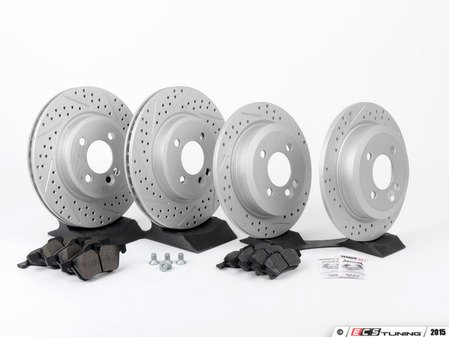 ES#2597355 - 34111502891XS1KT - Performance Front & Rear Brake Service Kit - Featuring ECS GEOMET Slotted/Drilled rotors and Hawk HPS pads - Assembled By ECS - MINI