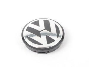 ES#2142903 - 1J0601171XRW - Center Cap - Priced Each - Silver/Black dome style wheel center cap - Genuine Volkswagen Audi - Volkswagen