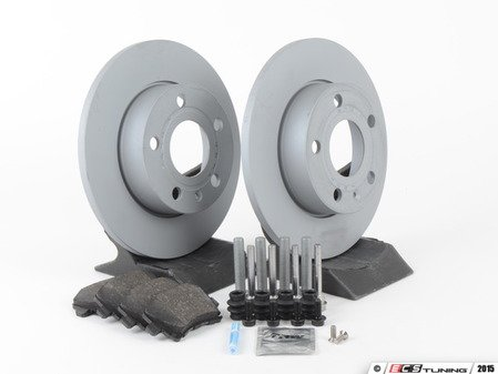ES#2762661 - 1K0615601LKT4 - Rear Brake Service Kit (260x12) - Featuring Zimmermann rotors and Posi-Quiet ceramic pads - Assembled By ECS - Volkswagen