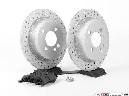 ES#2594760 - 34211503070XSKT1 - Performance Rear Brake Service Kit - Featuring ECS GEOMET Slotted/Drilled rotors and Hawk HPS pads - Assembled By ECS - MINI