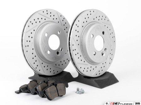 ES#2594761 - 34111502891XSKT1 - Performance Front Brake Service Kit - Featuring ECS GEOMET Slotted/Drilled rotors and Hawk HPS pads - Assembled By ECS - MINI
