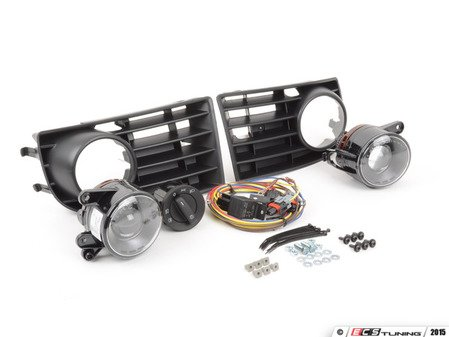 ES#2063752 - 1K0998026 - Projector Fog Light Conversion Kit - With 5 Bar Grille - Complete kit to install European projector fog lights - includes bulbs - Assembled By ECS - Volkswagen