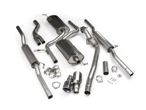 """ES#2827275 - SSXAU089 - Cat-Back Exhaust System - Resonated - 2.5"""" stainless steel with dual 100mm polished tips - Milltek Sport - Audi"""