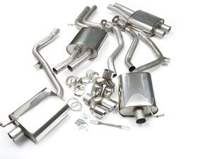 """ES#2827387 - SSXAU261 - Cat-Back Exhaust System - Resonated - 2.37"""" stainless steel with quad 80mm polished tips - Milltek Sport - Audi"""