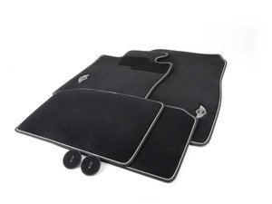 ES#2136695 - 51472211082 - MINI Emblem Logo - Black - Floor Mat Carpet Set (Front & Rear) - Priced As Set  - Replace or upgrade to factory MINI mats : driver side holders only - Genuine MINI - MINI