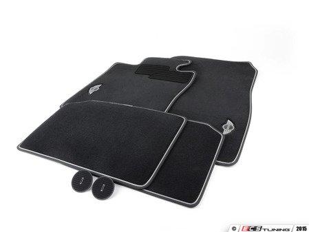 ES#2136695 - 51472211082 - MINI Emblem Logo - Black - Floor Mat Carpet Set (Front & Rear) - Priced As Set  - Replace or upgrade to factory MINI mats : driver side holders only - Genuine MINI - MINI