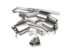 """ES#2827426 - SSXAU302 - Cat-Back Exhaust System - Resonated - 2.76"""" stainless steel with dual GT100 polished tips - Milltek Sport - Audi"""