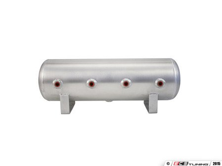 "ES#2732120 - 11958 - 2.5 Gallon Aluminum Air Tank - Brushed - (4) 1/4"" face ports, & 1/4"" drain port - 20"" L X 6"" D - Air Lift - Audi BMW Volkswagen Mercedes Benz MINI Porsche"