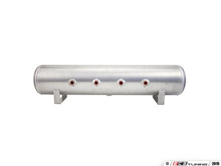 """ES#2732086 - 11957 - 4 Gallon Aluminum Air Tank - Brushed - (4) 1/4"""" face ports, (2) 3/8"""" end ports, & 1/4"""" drain port - 30"""" L X 6"""" D - Air Lift - Audi BMW Volkswagen Mercedes Benz MINI Porsche"""