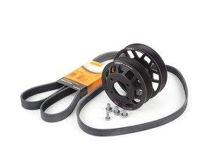 ES#2863229 - 003042ECS01KT5 - Aluminum water pump & power steering Pulley Kit - With Belts  - Finally, a durable pulley kit that won't break! Includes durable ECS Aluminum Power Steering Pulley, Aluminum water pump and Continental belts. - Assembled By ECS - BMW