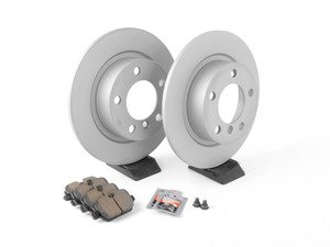 ES#2804128 - 34119804829KT21 - Rear Brake Service Kit - Featuring Zimmerman rotors and Akebono pads - Assembled By ECS - MINI