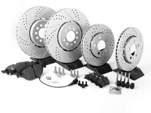 ES#2696239 - 1J0615301AAKT8 - Performance Front & Rear Brake Service Kit (334x32/256x22) - Featuring ECS GEOMET cross drilled and slotted rotors and Hawk HPS pads - Assembled By ECS - Volkswagen
