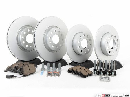 ES#2806924 - 1K0698301A1KT3 - Front & rear brake service kit (312x25/260x12) - Featuring Meyle rotors and Akebono ceramic pads - Assembled By ECS - Volkswagen