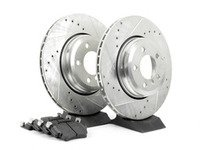 ES#2864156 - HK4875.550Z - Rear Sector 27 Performance Rotor  Pad Kit - Featuring Hawk Sector 27 cross drilled and slotted rotors with Performance Ceramic brake pads - Hawk - BMW