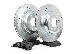 ES#2863982 - HK4504.624Z - Rear Sector 27 Performance Rotor  Pad Kit - Featuring Hawk Sector 27 cross drilled and slotted rotors with Performance Ceramic brake pads - Hawk - BMW