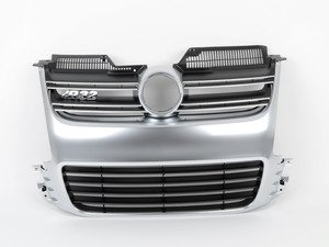 ES#248348 - 1K0853651R3Q7 - Grille Assembly - Aluminum Look - Without license plate mounting holes - Genuine Volkswagen Audi - Volkswagen