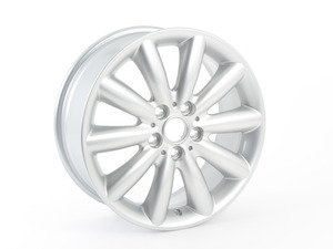 "ES#2745234 - 36116855108 - 499 MINI 10 Spoke Cosmos Wheel 17"" (5x112) Silver - Priced Each - 7J X 17 ET:54 - Genuine MINI - MINI"