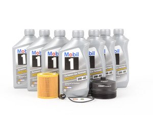 ES#2918837 - 11427566327KT4 - Mobil 1 Oil Change Kit / Inspection I - Includes seven quarts of Mobil 1 0w-40 synthetic engine oil, Mann oil filter and ECS magnetic drain plug for superior engine protection - plus ECS Billet Aluminum Oil Filter Cap to prevent damaged threads or rounded heads! - Assembled By ECS - BMW