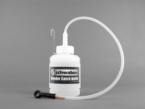 ES#2773388 - 007481SCH01A - Brake Bleeder Catch Bottle - This Schwaben catch bottle holds a full 1 Liter of fluid and features easy to read oil level marks on side of bottle. Comes complete with 90 flexible push-on bleeder nipple on one end and a vented no spill screw on cap on the other. - Schwaben - Audi BMW Volkswagen Mercedes Benz MINI