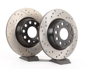 ES#2918656 - 127.33099KT - Rear Cross Drilled & Slotted Brake Rotors - Pair (282x12) - Upgrade to a slotted / cross-drilled rotor for improved braking - OE# 1K0615601AD - StopTech - Audi Volkswagen