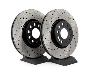 ES#2918653 - 127.33098KT - Front Cross Drilled & Slotted Brake Rotors - Pair (312x25) - Upgrade to a slotted / cross-drilled rotor for improved braking - OE# 1K0615301AA - StopTech - Audi Volkswagen