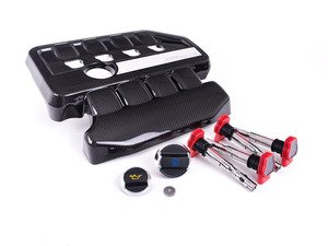 ES#2918703 - 005243ecs01aKT - Carbon Fiber Engine Cover Kit  - Includes ECS Carbon Fiber Engine Cover, Red Coil Packs and Porsche Caps for enhanced underhood styling! - Assembled By ECS - Volkswagen