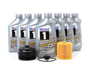 ES#2951317 - 11427566327KT6 - Mobil1 Oil Change Kit - With ECS Aluminum Oil Filter Cap - Includes ECS Billet Aluminum Oil Filter Cap to prevent damaged threads or rounded heads! - Assembled By ECS - BMW