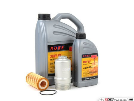 ES#2951301 - 21063-538-032KT - Oil Service Kit - With Silver Billet Aluminum Oil Filter Housing  - Includes HighTec Synt RS Engine Oil (5W-40), Genuine Oil Filter and an ECS billet filter housing - Assembled By ECS - Audi