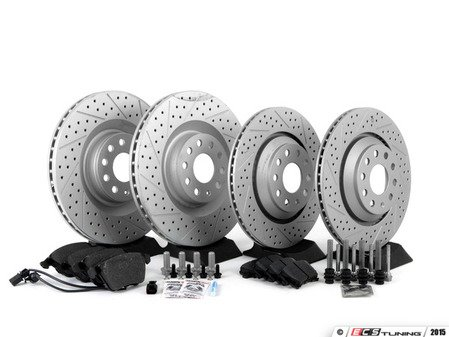 ES#2702180 - 1K0615301M - Performance Front & Rear Brake Service Kit - Performance brake upgrade all around featuring ECS GEMOET cross drilled & slotted rotors and Hawk HPS performance brake pads - Assembled By ECS - Volkswagen