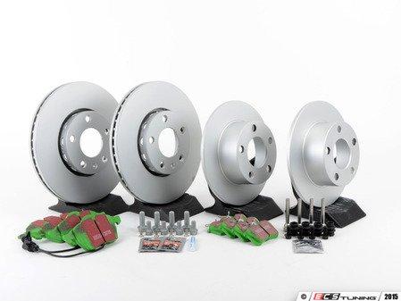 ES#2587629 - 40454112KT3 - Front & Rear Brake Service Kit - Includes Meyle Platinum Rotors and EBC GreenStuff Pads - Assembled By ECS - Volkswagen