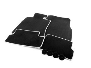 ES#2573118 - 51477356867 - MINI Velours Floor Mats Carbon Black / White Pipping Set ( Front & Rear ) - Priced As Set - Replace or upgrade to factory MINI mats - Genuine MINI - MINI