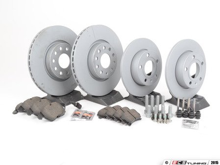 ES#2806919 - 1K0615301AA4DKT - Front & Rear Brake Service Kit (312x25/260x12) - Featuring Zimmermann rotors and Vaico pads - Assembled By ECS - Volkswagen