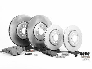 ES#2723027 - 1J0615301AABKT - Front & Rear Brake Service Kit - Featuring Genuine rotors, Meyle front pads, and Mintex rear pads - Assembled By ECS - Volkswagen