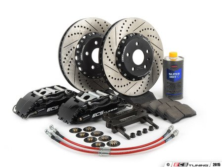 ES#257493 - 1K0698302 - Front Big Brake Kit - Stage 3 - 2-Piece Cross-Drilled & Slotted Rotors (332x32) - Four-Piston Black ECS caliper, caliper carrier brackets, pads, Two-piece rotors, exact-fit stainless steel lines, and hardware - ECS - Audi Volkswagen