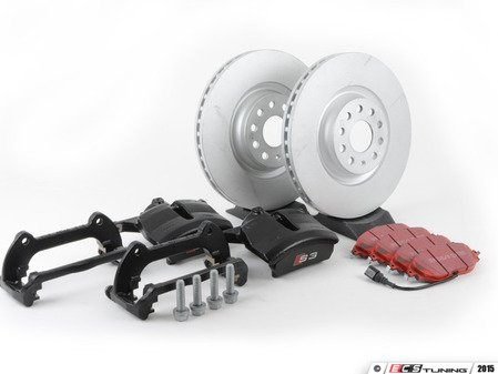 ES#2788459 - A38VBBKKT1 - Front Big Brake Kit - Stage 2 - Black Calipers - Plain Rotors (340x30) - Upgrade to the stopping power of the Audi S3 - Assembled By ECS - Audi