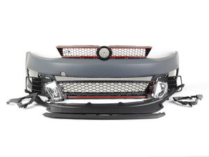 ES#2952266 - BP-VWJ6-GLI-R - Front Bumper Conversion - GLI With Red Trim - Includes honeycomb grilles, fog lights, and front lip - ECS - Volkswagen