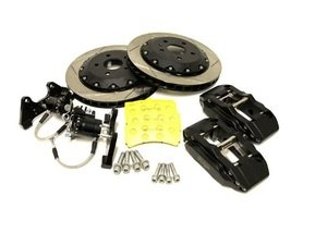 ES#2960013 - fmrbkmk5 - Forge Rear Big brake kit - 330x28mm Slotted 2 Piece rotors - Rear big brake kit featuring 2 piece rotors, black 4 pot calipers, and hydraulic handbrake. - Forge - Volkswagen