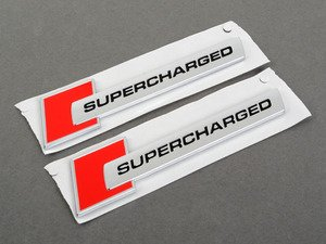 """ES#2954135 - 4f0853601a2zzKT - """"Supercharged"""" Badge Set - Red/Chrome  - Display your forced induction engine in brilliant Audi red - Genuine Volkswagen Audi - Audi"""